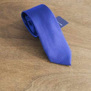 Cravatta a pois fondo blu mod. 002