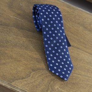 Cravatta a pois fondo blu mod. 104