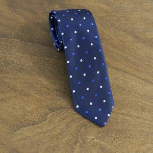Cravatta a pois fondo blu mod. 106