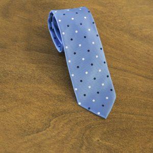 Cravatta a pois fondo celeste mod. 111