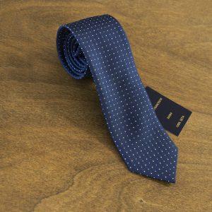 Cravatta a pois fondo blu mod. 171