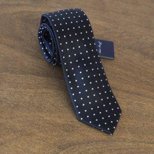 Cravatta a pois fondo nero mod. 018