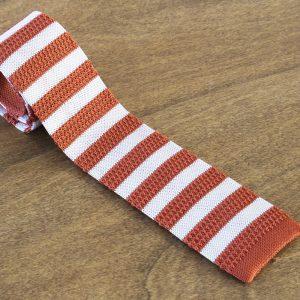 Cravatta in maglina a righe fondo arancione/bianco mod. 311