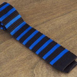 Cravatta in maglina a righe fondo azzurro/marrone mod. 314