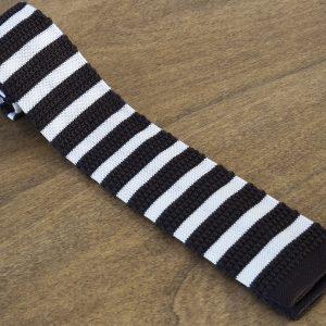 Cravatta in maglina a righe fondo marrone/bianco mod. 316